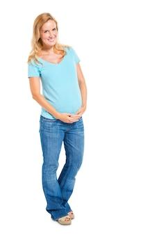 Mulher grávida feliz