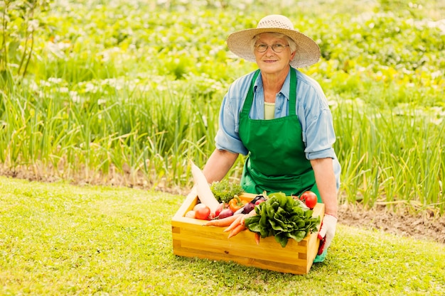 Mulher idosa com vegetais