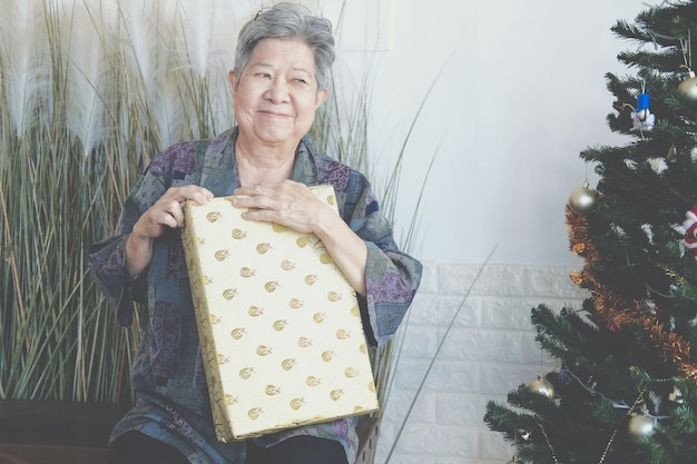 Mulher idosa idosa asiática idosa idosa segurando uma caixa de presente perto da árvore de natal