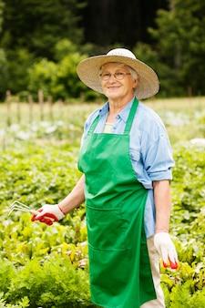 Mulher idosa jardinagem