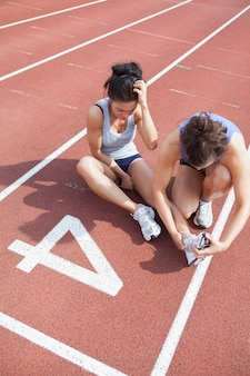 Mulher, importar-se, corredor, esportes, ferimento