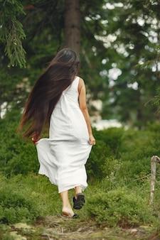 Mulher indiana com cabelo comprido. senhora de vestido azul. menina com natureza intocada.