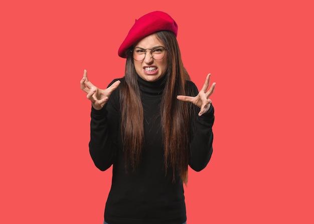 Mulher jovem artista brava e chateada