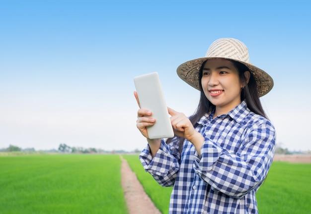 Mulher jovem asiática agricultor sorriso rosto carrinho e usando tablet móvel na fazenda de arroz verde