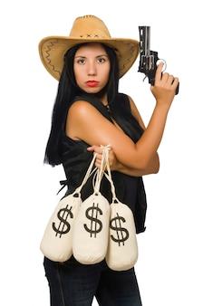 Mulher jovem, com, arma, e, dinheiro, sacos