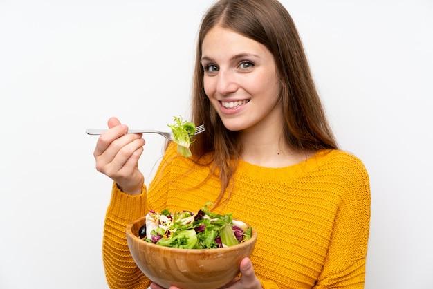 Mulher jovem, com, cabelo longo, com, salada