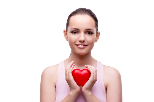 Mulher jovem, com, coração vermelho, isolado, branco
