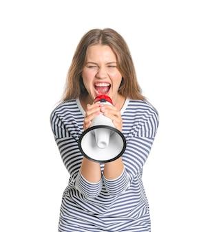 Mulher jovem com megafone isolado