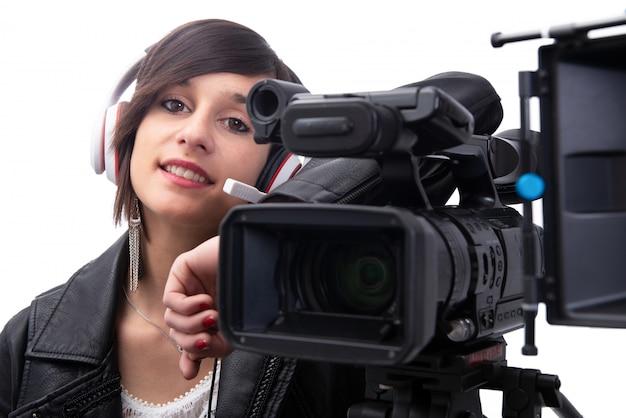 Mulher jovem, com, profissional, câmera video