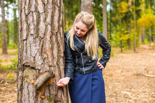 Mulher jovem e bonita alimentando um esquilo em um parque de outono