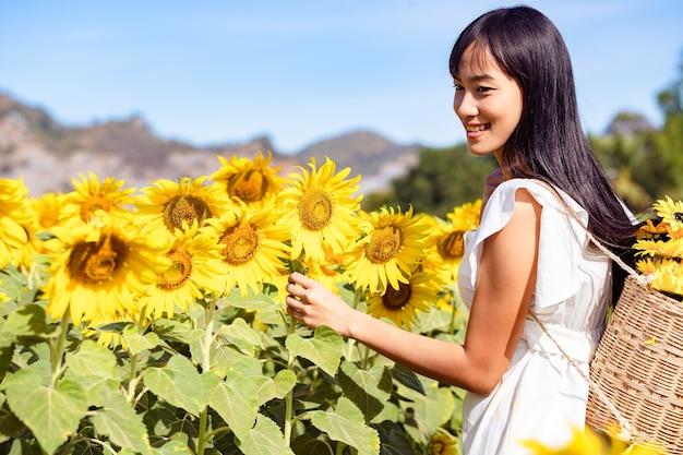 Mulher jovem e bonita colher produtos em um campo de girassóis em um vestido branco.