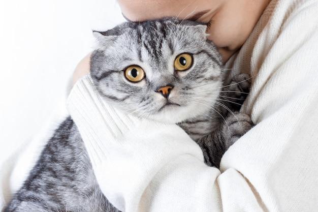 Mulher jovem e bonita com gato fofo descansando em casa