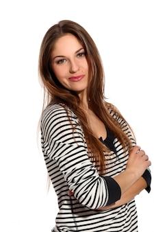 Mulher jovem e bonita com rosto astuto