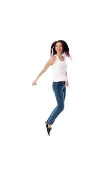 Mulher jovem, é, pular, branco