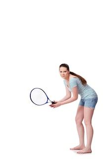 Mulher jovem, em, esportes, conceito, isolado