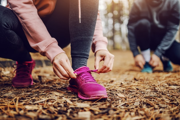 Mulher jovem em forma desportiva amarrando o cadarço enquanto se agacha na trilha na natureza e se preparando para correr.