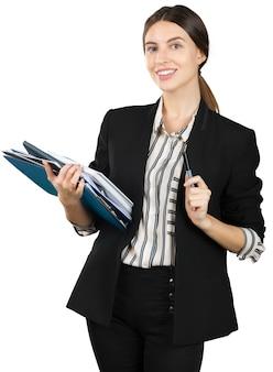 Mulher jovem, em, formal, equipamento, segurando, um, pilha, de, documentos, isolado, branco