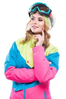 Mulher jovem, em, terno esqui