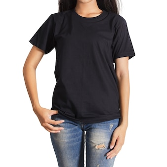 Mulher jovem, em, um, calças brim azul, e, pretas, t-shirt, branco, fundo