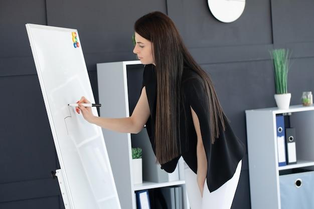 Mulher jovem em um escritório escrevendo em um quadro branco