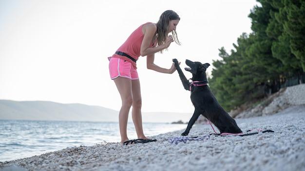 Mulher jovem ensinando seu cão pastor preto a fazer um gesto de mais cinco