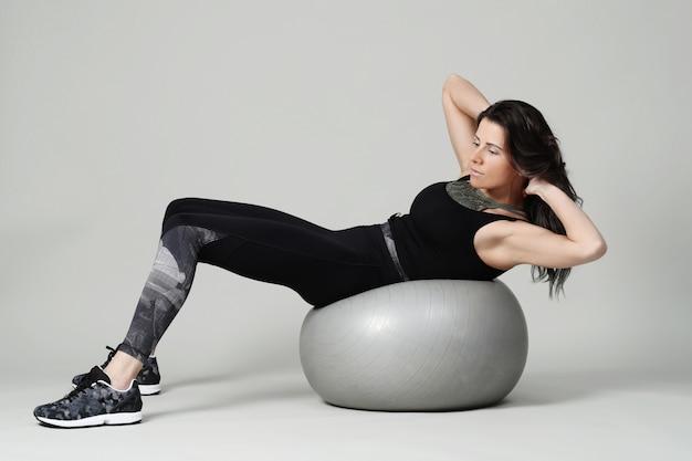 Mulher jovem, exercitar, condicão física