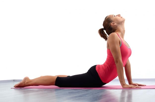 Mulher jovem, fazendo, ioga