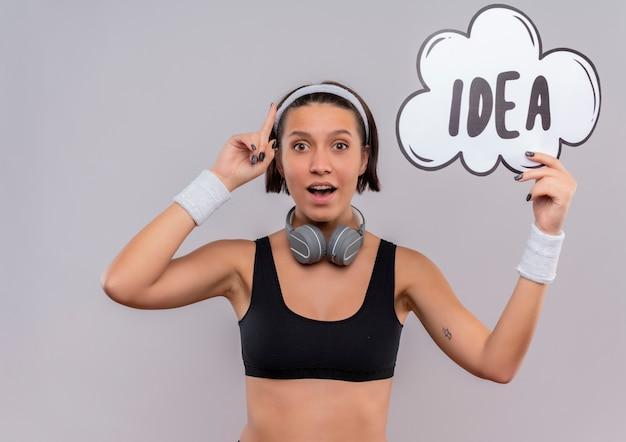 Mulher jovem fitness em roupas esportivas com bandana segurando um cartaz de bolha do discurso com a ideia da palavra apontando para cima com o dedo indicador, parecendo surpresa e feliz em pé sobre a parede branca