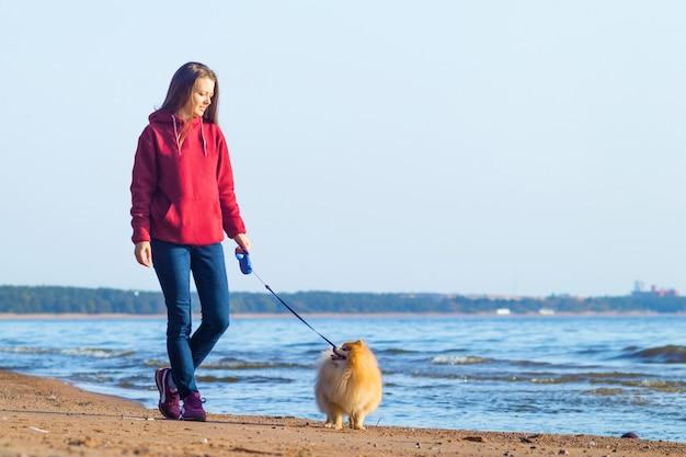 Mulher jovem, garota andando com seu cachorro pomeranian spitz na praia. adoção de animais de estimação.
