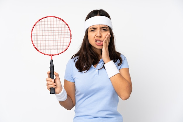 Mulher jovem jogador de badminton mais isolada