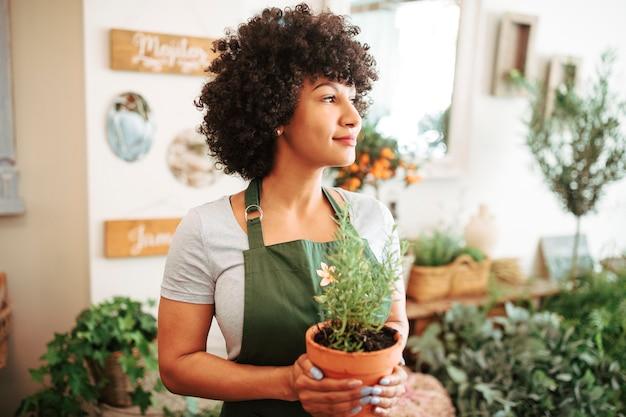 Mulher jovem, segurando, planta potted