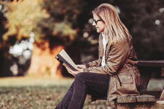 Mulher, lendo um livro, ligado, pôr do sol