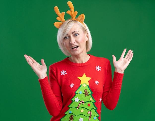 Mulher loira de meia-idade impressionada com tiara de chifres de rena de natal e suéter de natal olhando para a câmera mostrando as mãos vazias isoladas no fundo verde