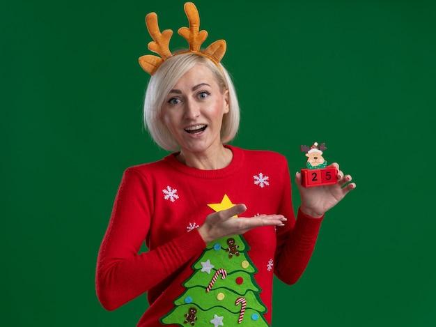 Mulher loira de meia-idade impressionada usando bandana de chifres de rena de natal e suéter de natal segurando e apontando com a mão para o brinquedo de rena de natal com data, parecendo isolado na parede verde