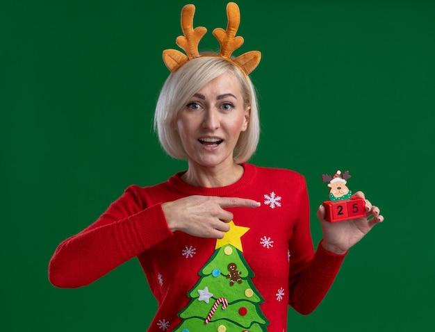 Mulher loira de meia-idade impressionada usando bandana de chifres de rena de natal e suéter de natal segurando e apontando para um brinquedo de rena de natal com data parecendo isolado na parede verde