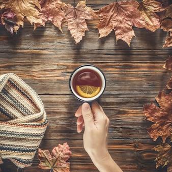 Mulher, mão, segura, para, copo, chá preto quente, outono, moda, sazonal, conceito
