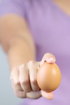 Mulher, mãos, com, ovo