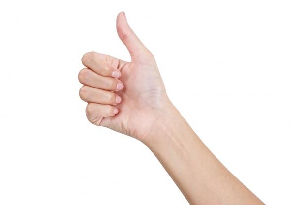 Mulher, mãos, gesticule, polegar cima, sinal, por, frente, lado, isolado, branco