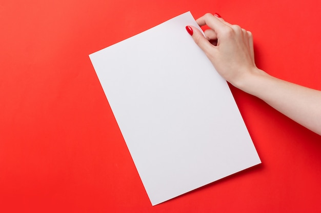 Mulher, mãos, segurando, branca, a4, em branco, papel, vermelho, fundo