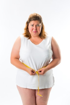 Mulher, medindo, dela, cintura, com, fita