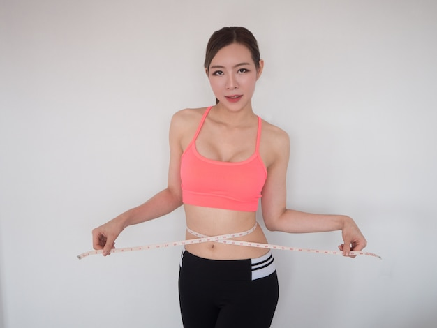 Mulher, medindo, dela, corpo, desporto, menina