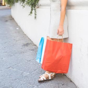 Mulher moderna posando com sacos de compras