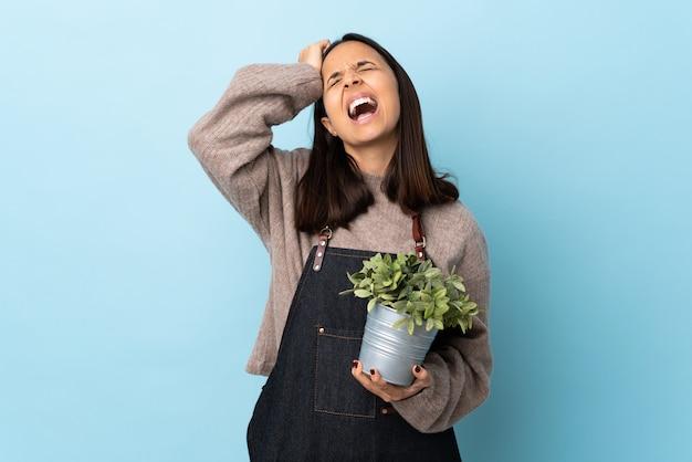 Mulher morena de raça mista morena segurando uma planta azul isolado estressado