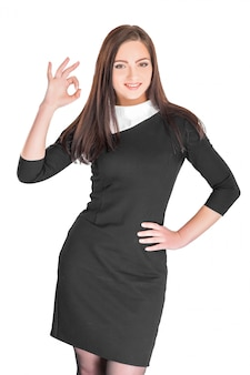 Mulher, mostrando, ok, gesto