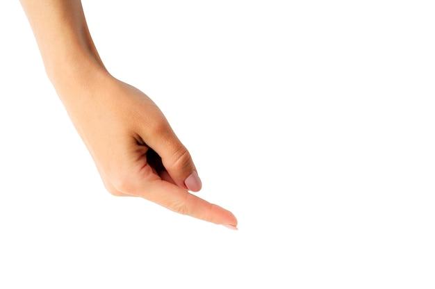 Mulher mostrando pelo dedo. tamplate para seu projeto.