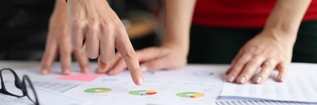 Mulher mostrando tabelas e gráficos para seus colegas com o conceito de serviço ao cliente de closeup de mão