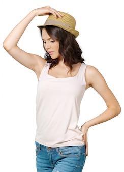 Mulher muito alegre no chapéu