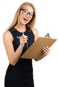 Mulher negócio, com, área de transferência