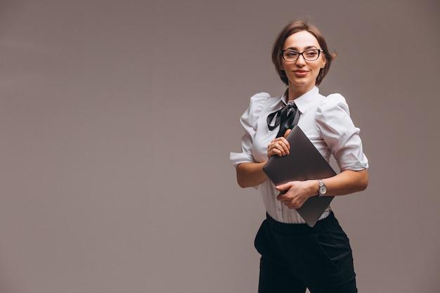 Mulher negócio, com, computador, isolado