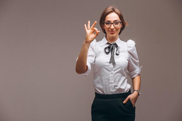 Mulher negócio, com, emoções, isolado